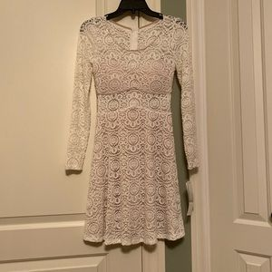 New Lace Mesh gold sparkle party dress white cream